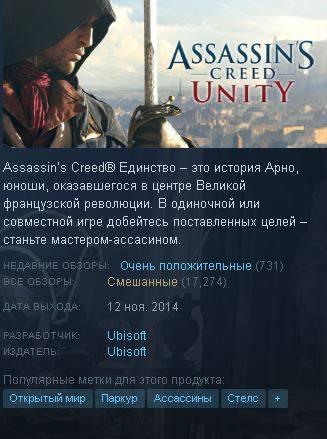 Пользователи Steam закидали Assassin's Creed Unity положительными оценками после старта бесплатной раздачи в uPlay