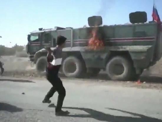 """Опубликована запись с российской машиной """"Тайфун-К"""", подожженной сирийцами в Кобани"""