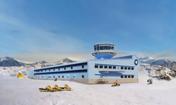 В Антарктиде началось строительство нового аэродинамичного корпуса для научной базы