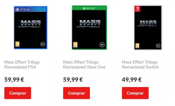 Шэпард в портативе: Португальский магазин засветил Mass Effect: Trilogy для Switch