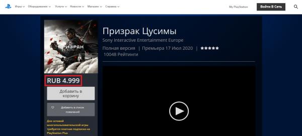 Очередное подорожание в российском PS Store: Ghost of Tsushima от Sony выросла в цене