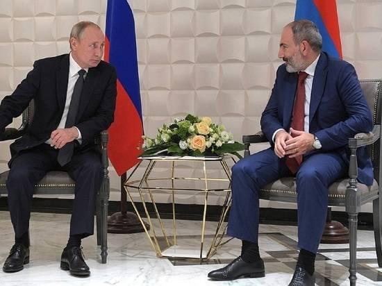 Путин высказался о ситуации в Армении в разговоре с Пашиняном