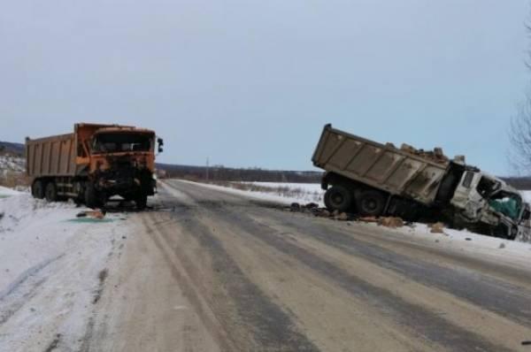 Двое погибли при столкновении автобуса и двух грузовиков в Башкирии