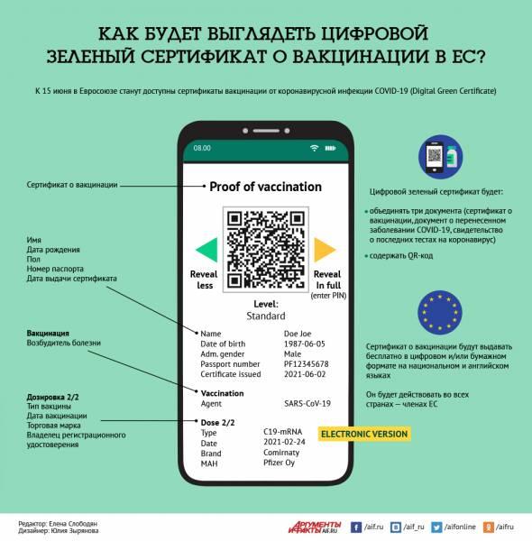 Как будет выглядеть цифровой сертификат вакцинации ЕС? Инфографика