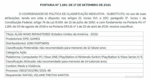 Ремастер Alan Wake для Switch получил возрастной рейтинг в Бразилии